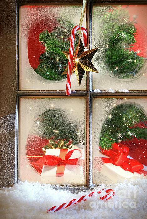Background Photograph - Festive Holiday Window by Sandra Cunningham