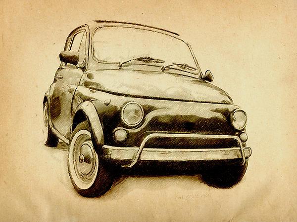 Fiat 500 Digital Art - Fiat 500l 1969 by Michael Tompsett