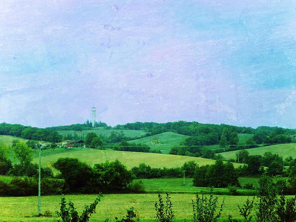 Road Painting - Fields by Sandrine Pelissier