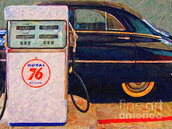 Car Photograph - Fill Her Up At The Old Royal 76 Gas Station by Wingsdomain Art and Photography