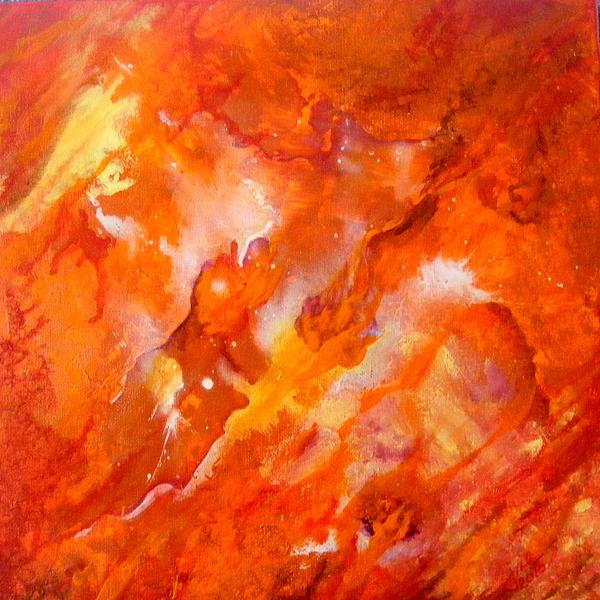 Abstract Painting - Fire by Jean LeBaron