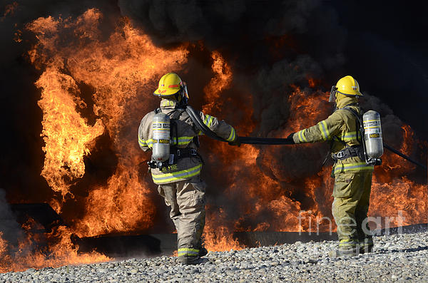Firefighters Photograph - Firefighters In Action 3 by Bob Christopher