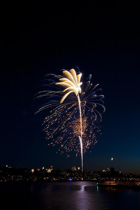 Fireworks Photograph - Fireworks Over Lake Washington by David Rische