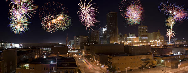 Architecture Photograph - Fireworks Over The City by Ricky Barnard