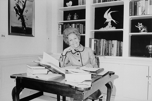 History Photograph - First Lady Pat Nixon Working At A Small by Everett
