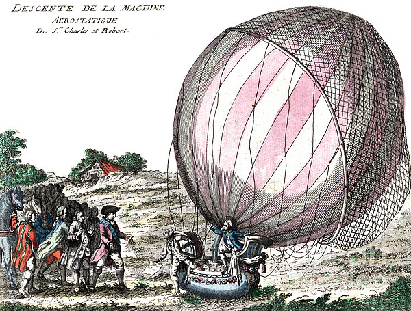 Technology Photograph - First Manned Hydrogen Balloon Flight by Photo Researchers