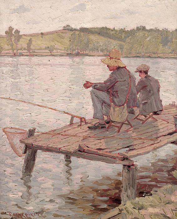 Fishermen (oil On Canvas) Painting - Fishermen by Pierre Roche