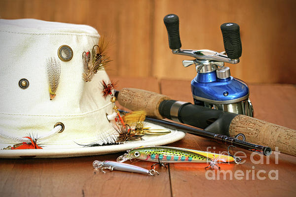 Activity Photograph - Fishing Reel With Hat And Color Lures by Sandra Cunningham