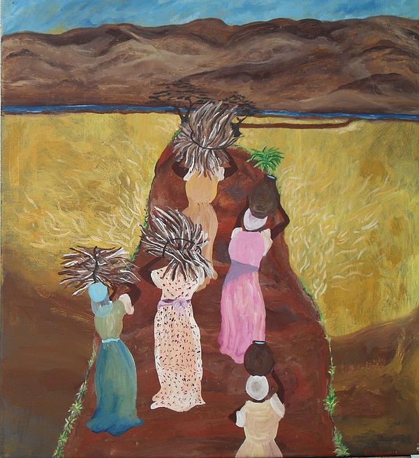 Women Painting - Five Women by Charisma Franklin