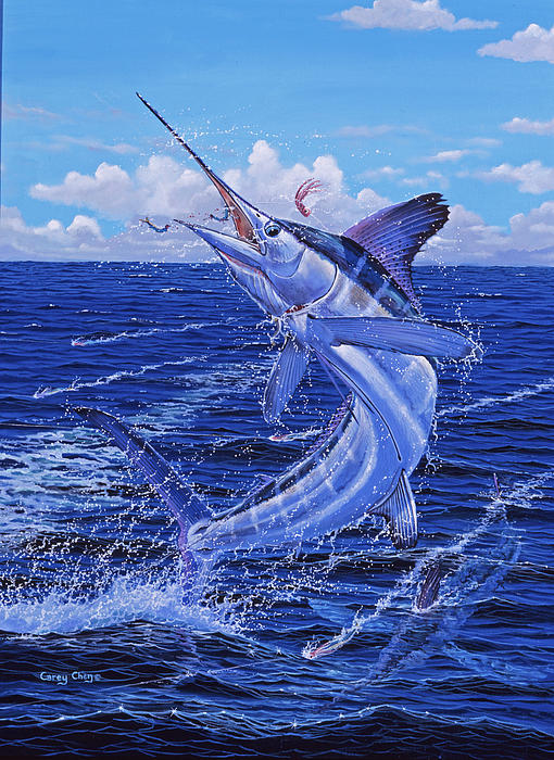 White Marlin Painting - Flat Line by Carey Chen
