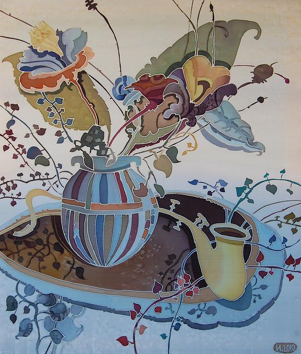 Flowers Painting - Flowers And Saxophone by Irina Dorofeeva