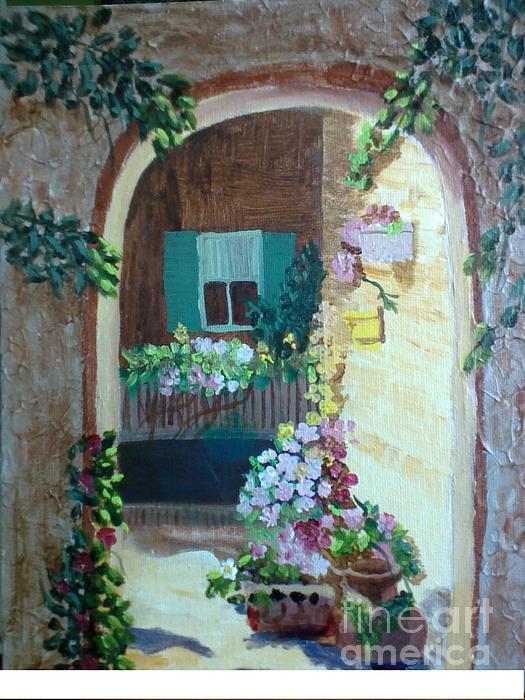 Texture Painting - Flowers In Stone Doorway by Jeanene Miller
