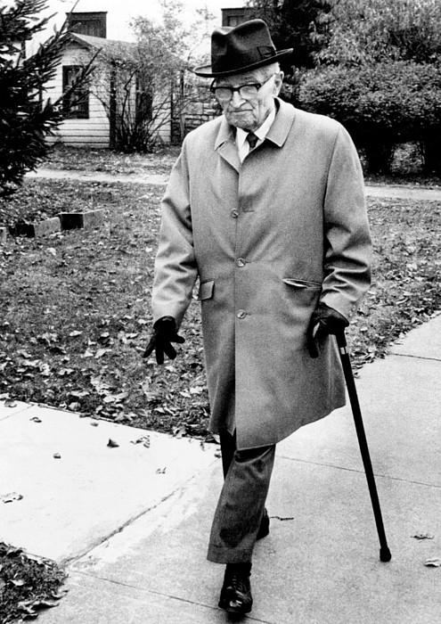History Photograph - Former President Harry Truman Walks by Everett