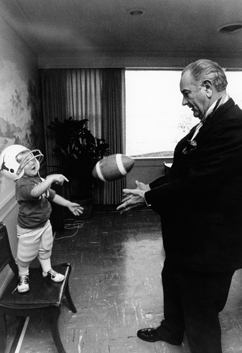History Photograph - Former President Lyndon Johnson Plays by Everett