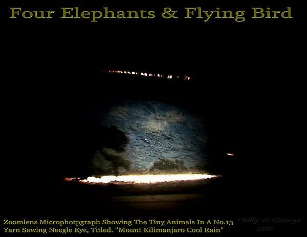 Elephants Painting - Four Elephants And Flying Bird  by Phillip H George