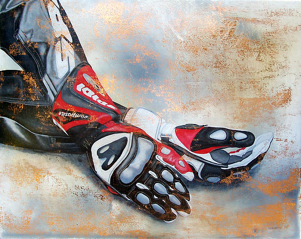 Motorcycle Rider Gloves Motosport Self Portrait Realism Figurative Spidi Metal Leaf Oil Painting - Fracture by Ian Hemingway