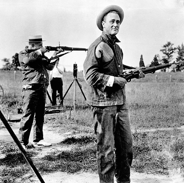 History Photograph - Franklin Roosevelt On A Rifle Range by Everett