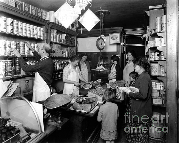 Grocery Store Photograph - Fred Grovers Grocery Store by Photo Researchers