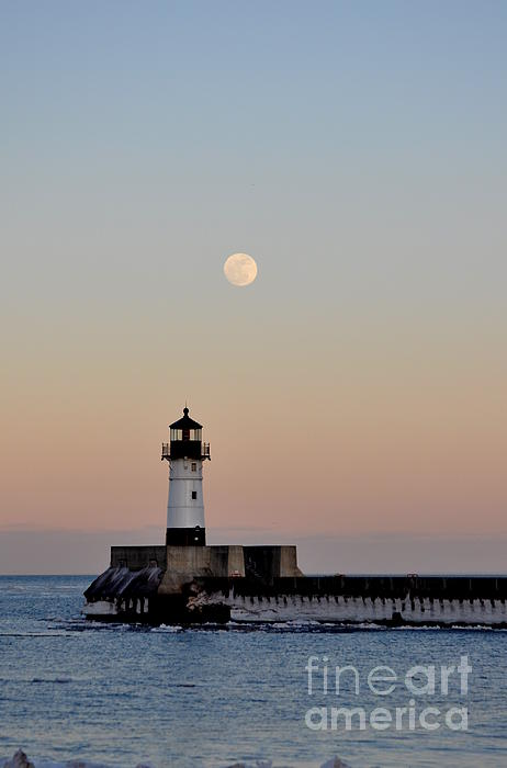 Lake Superior Lighthouse Pyrography - Full Moon Light by Whispering Feather Gallery
