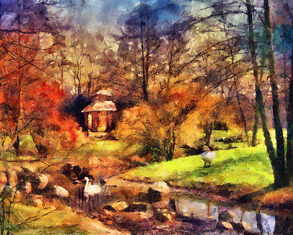 Stream Painting - Gazebo In The Park by Jai Johnson