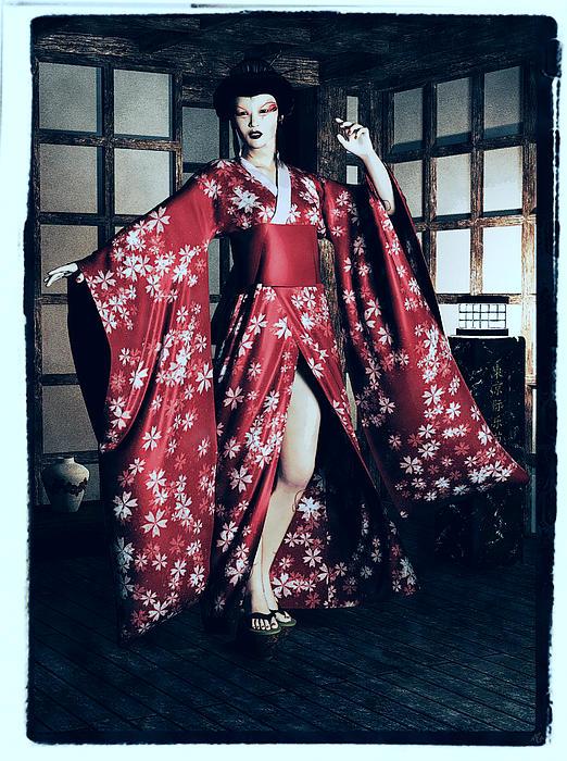 Woman Painting - Geisha by Maynard Ellis