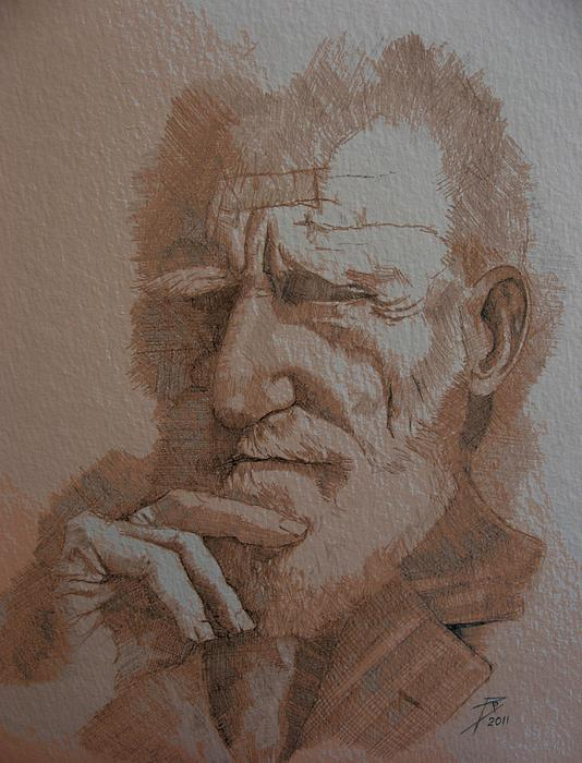 Male Drawing - George Bernard Shaw by Ray Agius