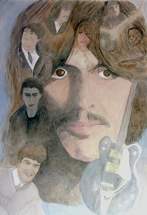 George  Harrison Painting - George Harrison Give Me Love Give Me Hope by Christian Lebraux Kennedy