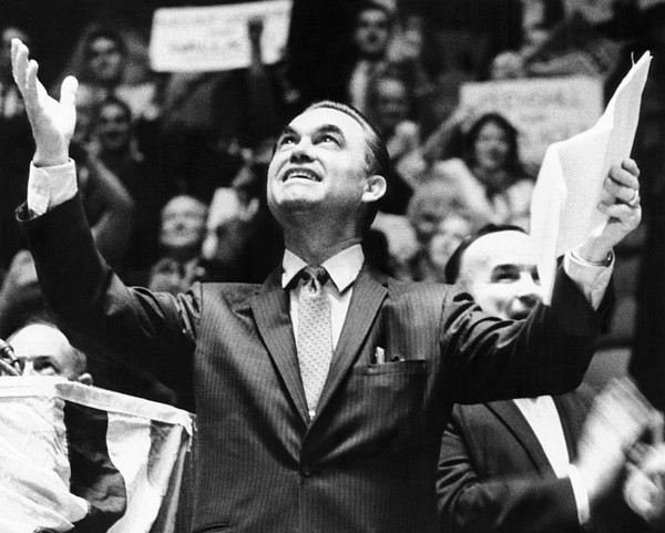 History Photograph - George Wallace Acknowledges The Cheers by Everett