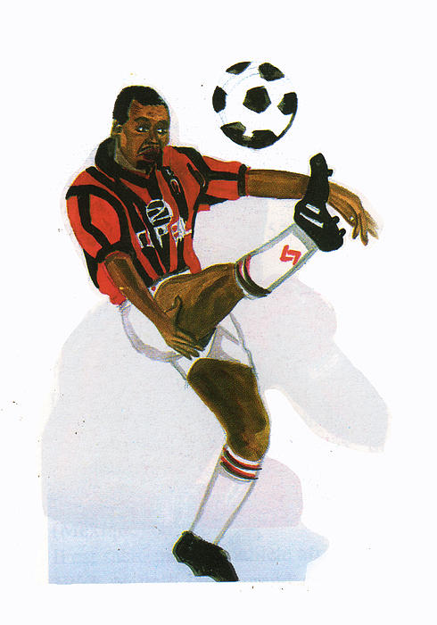 Sports Painting - George Weah In Action by Emmanuel Baliyanga