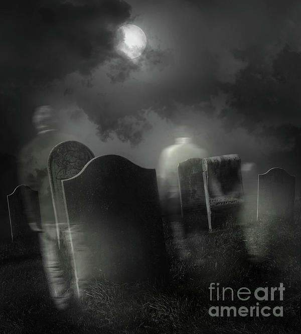 Background Photograph - Ghosts Wandering In Old Cemetery  by Sandra Cunningham
