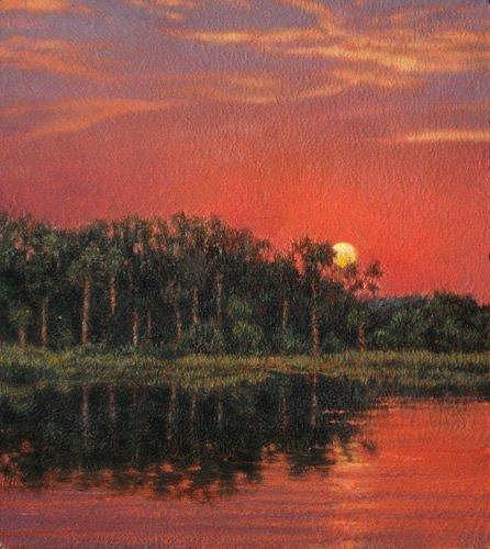Marsh Scenes Painting - Giclee Blood Sky by Michael Story
