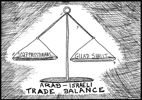Gilad Shalit Drawing - Gilad Shalit Palestinian Prisoner Swap Cartoon by Yasha Harari