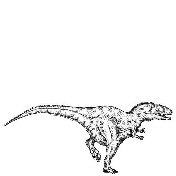 Cartoon Drawing - Gimpusaurus - Dinosaur by Karl Addison