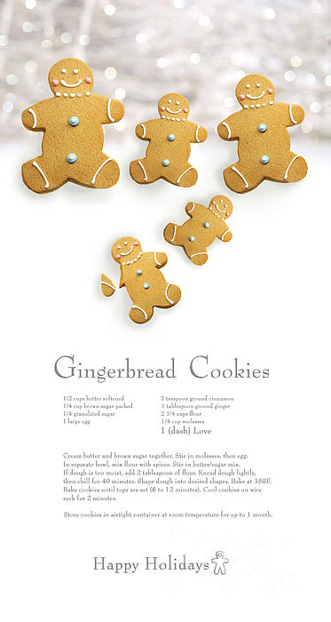 Background Photograph - Gingerbread Men Cookies Against Cookie Receipe by Sandra Cunningham