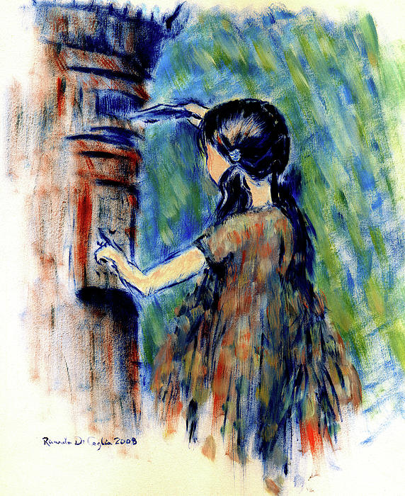 Girl And Letter Box Painting by Ricardo Di ceglia