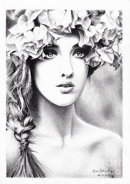 Beautiful Woman Drawing - Girl With A Floral Crown by Muna Abdurrahman