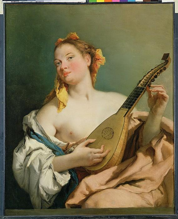 Girl Photograph - Girl With A Mandolin by Giovanni Battista Tiepolo