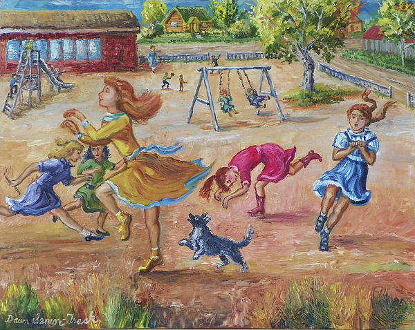 Children Painting - Girls Playing Horse by Dawn Senior-Trask