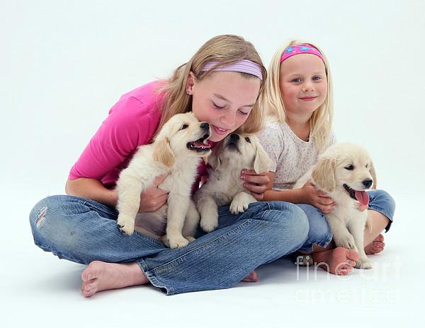 Animal Photograph - Girls With Puppies by Jane Burton