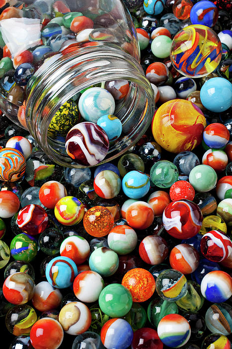 Glass Photograph - Glass Jar And Marbles by Garry Gay