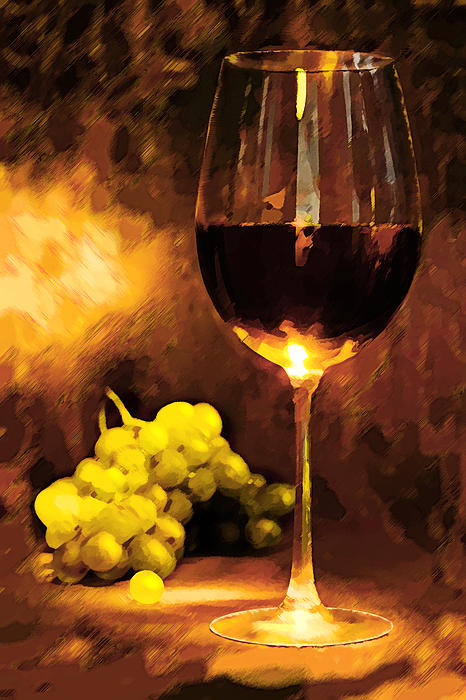 Wine Painting - Glass Of Wine And Green Grapes By Candlelight by Elaine Plesser