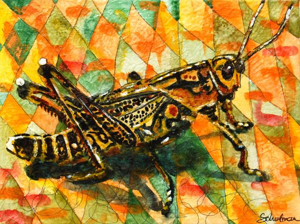 Grasshopper Painting - Glorious Grasshopper by Miriam  Schulman