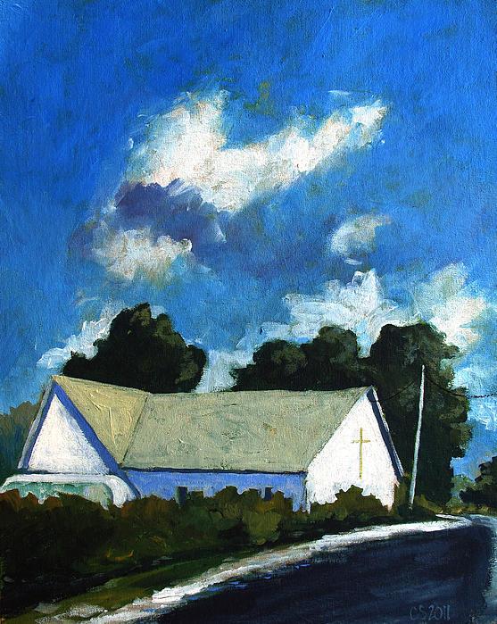 Church Painting - Glory Barn by Charlie Spear