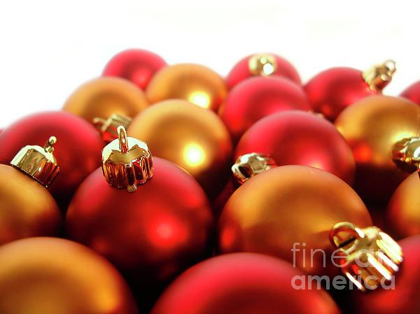 Ball Photograph - Gold And Red Xmas Balls by Carlos Caetano