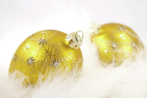 Background Photograph - Gold Balls With Feathers by Sandra Cunningham