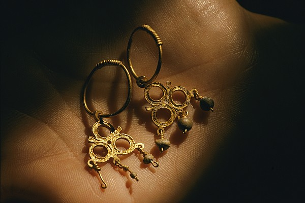 West Indies Photograph - Gold Earrings Hung With Pearls Are Part by Ira Block