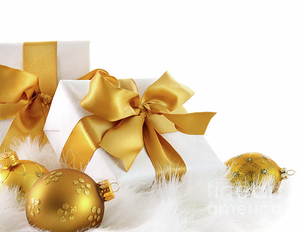 Background Photograph - Gold Ribboned Gifts With Christmas Balls  by Sandra Cunningham