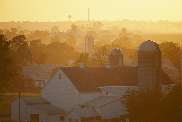 New Holland Photograph - Golden Twilight Upon The Silos And Farm by Michael S. Lewis