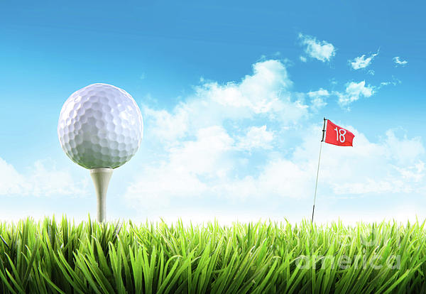 Active Photograph - Golf Ball With Tee In The Grass  by Sandra Cunningham