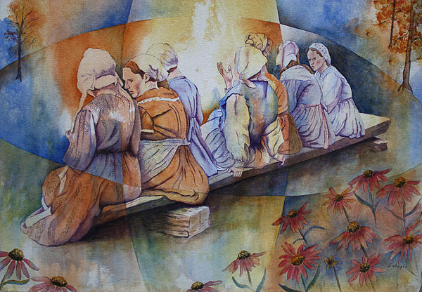 Costumed Figures In Landscape Painting - Gossip Bench by Patsy Sharpe